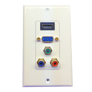 3W2015WH - HDMI + VGA + Component RCA Wall Plate - White