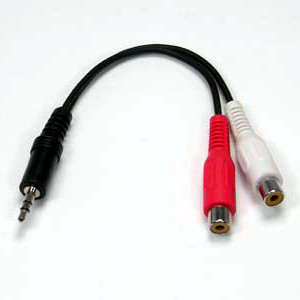 501505/.5BK - 3.5mm Stereo Male to (2) RCA Stereo Female Cable - 6 inch