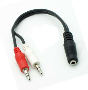 501506/.5BK - 3.5mm Stereo Female to (2) 3.5mm Stereo Male Splitter Cable - 6 inch