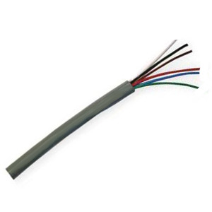 155476GY - Security Wire - 22 AWG/6 Conductor, CL3R, Shielded, Stranded Bare Copper, 1000ft - Grey