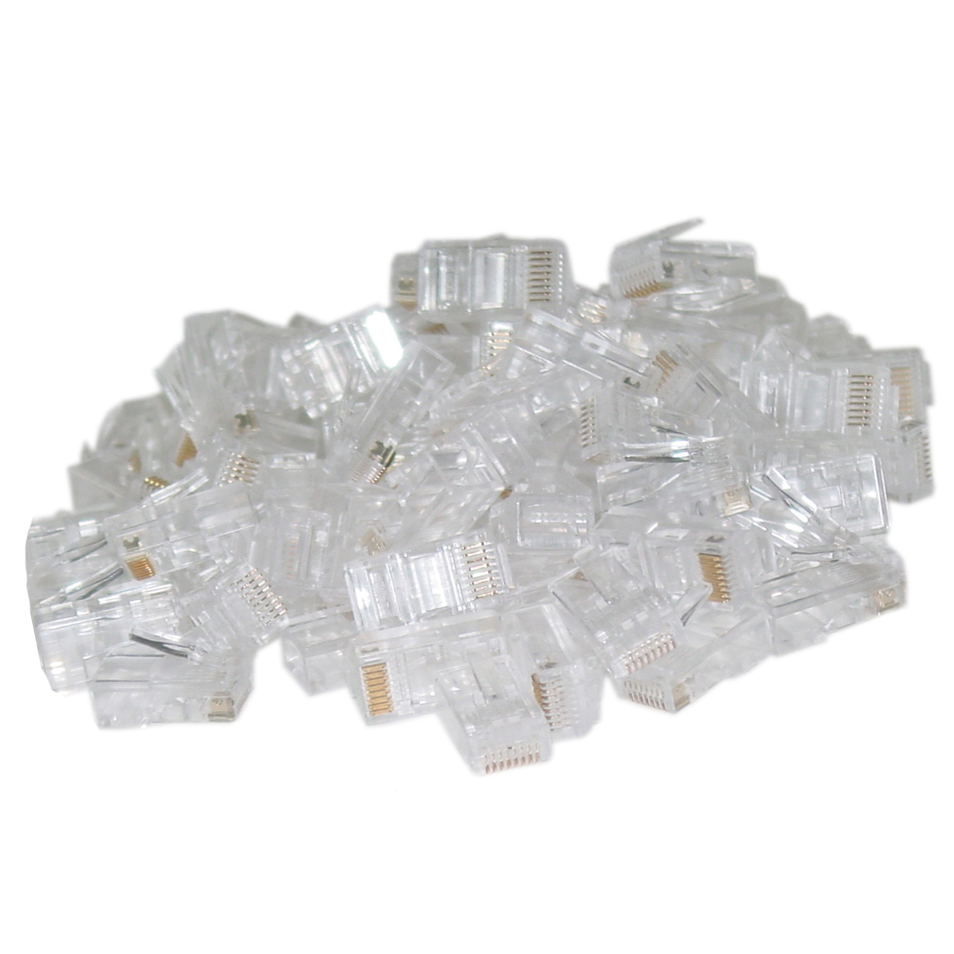 108705 - CAT5e RJ45 Crimp-On Connector Plugs for Stranded Cable - Bag of 100