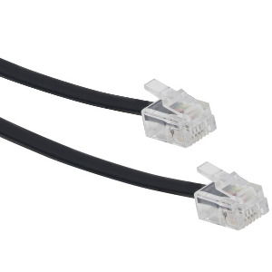 106183BK - 7ft Telephone Line Cord - 6P6C - RJ12/RJ11 - Black